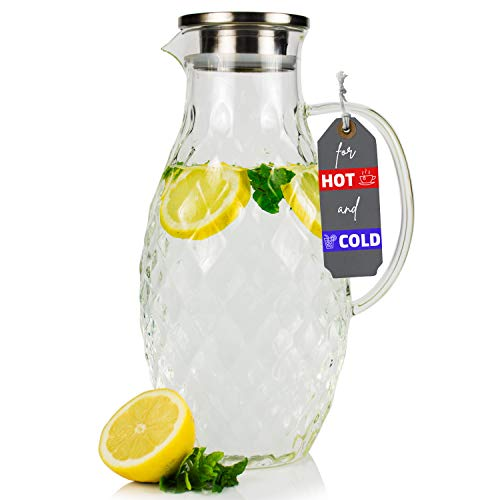 Large Glass Pitcher with Lid and Spout