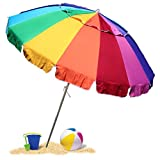 EasyGo 8 Foot Heavy Duty HIGH Wind Beach Umbrella - Giant 8' Beach...