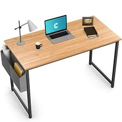 Cubiker Writing Computer Desk 39″ Home Office Study Desk, Modern Simple Style Laptop Table with Storage Bag, Natural