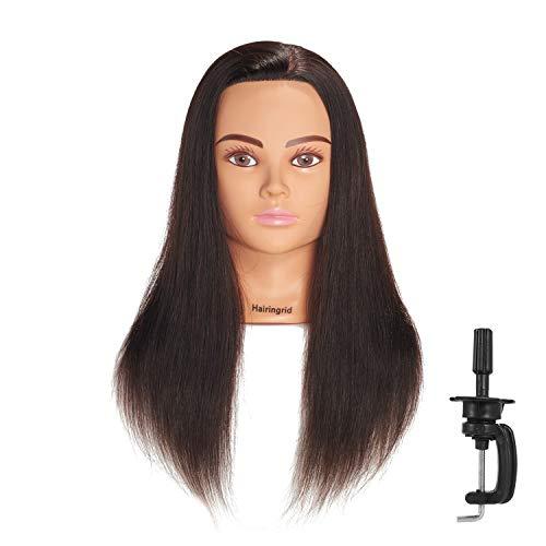 Hairingrid Mannequin Head 20'-22' 100% Human Hair Hairdresser Cosmetology Mannequin Manikin Training Head Hair and Free Clamp Holder (1906LB0214)
