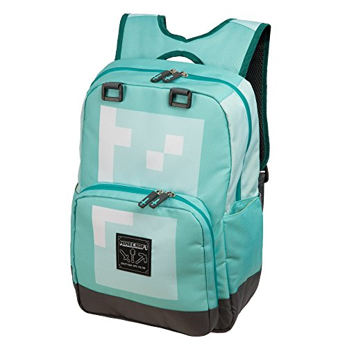 JINX Minecraft Diamond Kids Backpack (Blue, 18') for School, Camping, Travel, Outdoors & Fun