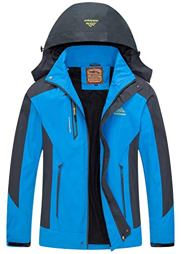 Men Casual Hooded Rain Jacket-Diamond Candy lightweight Waterproof Softshell Raincoat Outdoor Sportswear Blue Large