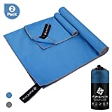 Awenia Camp Towel Quick Dry Microfiber Towel 2 Pack (48 x 24'' + 12 x 12''), Compact Travel Towel for Gym, Sports, Hiking, Backpacking, Swimming, with Carry Bag - Blue