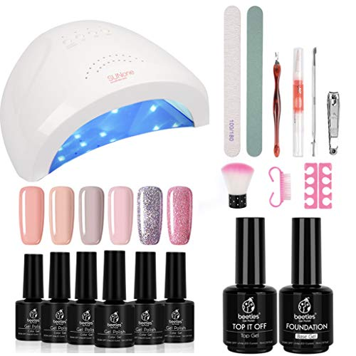 Beetles Gel Nail Polish Starter Kit with 48W UV/LED Light Nail Lamp Base Top Coat, Soak Off Gel Color 6 Spring Summer Mauve Set Manicure Tools Essentials Nail Art Designs Series 2