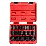 Sunex 2640, 1/2 Inch Drive Impact Socket Set, 19-Piece, SAE, 3/8 Inch - 1-1/2 Inch, Cr-Mo Alloy Steel, Radius Corner Design, Dual Size Markings, Heavy Duty Storage Case, Meets ANSI Standards