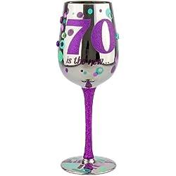 70Th Birthday Wine Glass, 15Oz, Multicolored