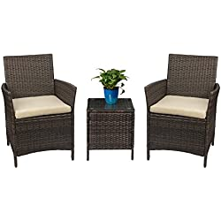 Devoko Patio Porch Furniture Sets 3 Pieces PE Rattan Wicker Chairs Beige Cushion with Table Outdoor Garden Furniture Sets (Brown)