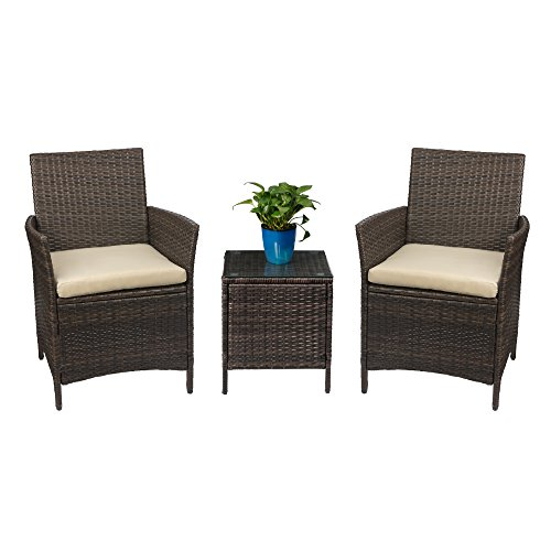 Devoko Patio Porch Furniture Sets 3 Pieces PE Rattan Wicker Chairs Beige Cushion with Table Outdoor Garden Furniture Sets