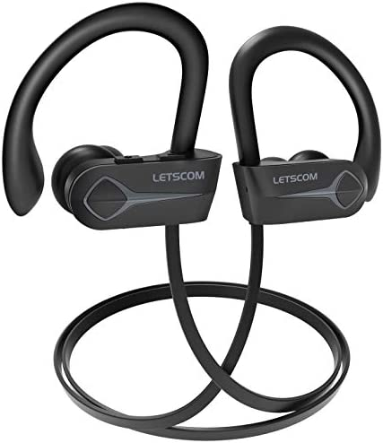 Letscom Bluetooth Headphones, 15Hrs Playtime Wireless 5.0 Earbuds IPX7 Waterproof Sport Running in-Ear Headsets w/Mic Stereo Sound Noise Cancelling – Upgraded Version