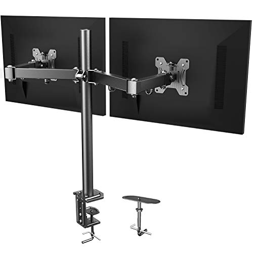 411jkuuEqLL - HUANUO Dual Monitor Mount, Fully Adjustable for Two 13 to 27 inch LCD LED Screens, 2 Mounting Options, VESA 75/100