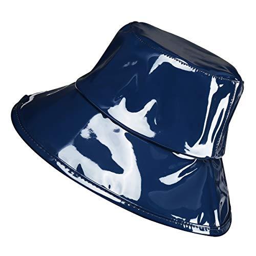 Women's Rain Hats Waterproof Rain Hat Wide Brim Bucket Hat Rain Cap (Blue)