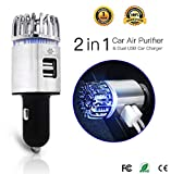 Exemplife Car Air Purifier, Freshener Adapter with 2 USB Ports,Car Air Ionizer Remove Smoke, Bad Smell and Odors,Keep The Air in Car Fresh
