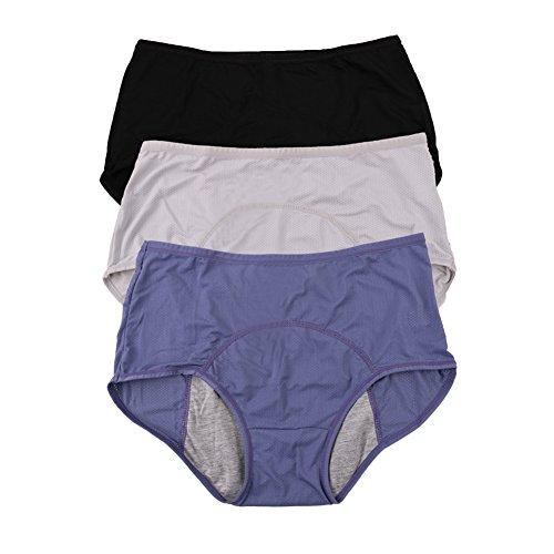 YOYI FASHION Women Mesh Holes Breathable Leakproof Period Panties US Size M/6 Blue Black Gray