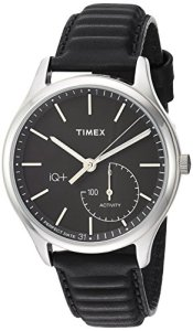Timex Men's TW2P93200 IQ+ Move Activity Tracker Black Leather Strap Smart Watch