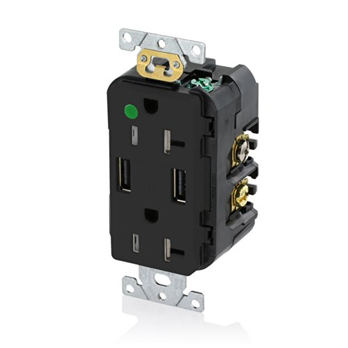 Leviton T5832-HGE 20-Amp Hospital Grade USB Charger/Tamper-Resistant Duplex Receptacle, Black