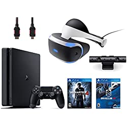PlayStation VR Bundle 4 Items:VR Headset,Playstation Camera,PlayStation 4 Slim 500GB Console - U,VR Game Disc PSVR DriveClub ncharted 4