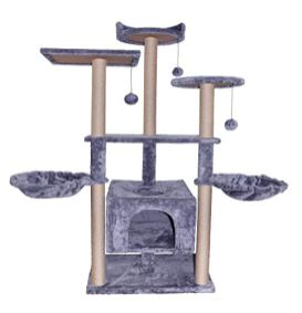 WIKI-04G-Three-Levels-Pet-Play-House-Cat-Tree-Tower-Furniture-Condo-Activity-Center-with-Sisal-Scratching-Posts-Perches-Hammock-for-Scratching-Grey