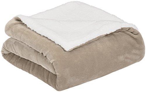 AmazonBasics Micromink Sherpa Blanket - Super-Soft, Wrinkle-Resistant - King, Taupe