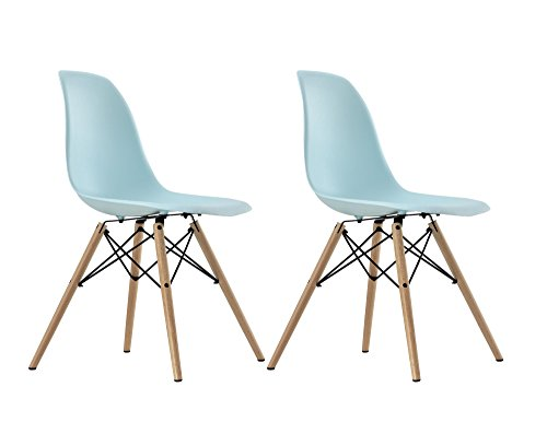 DHP Mid Century Modern Chair with Wood Legs, Set of 2, Light Blue