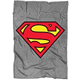 "Funny Superman Logo Blanket for Bed and Couch, The Man of Steel Blankets - Perfect for Layering Any Bed (Large Blanket (80""x60""))"