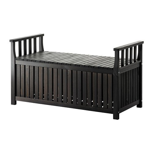 Ikea Storage bench outdoor, black-brown stained black-brown 426.11265.386