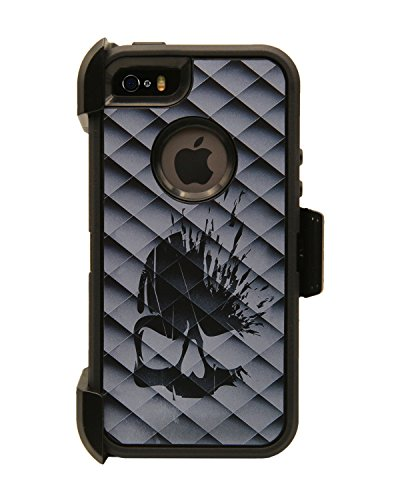 WallSkiN Turtle Series Cases for iPhone 5/5S/5SE (Only) Full Body Protection with Kickstand & Holster - Gun N' Roses (Skull/Black)