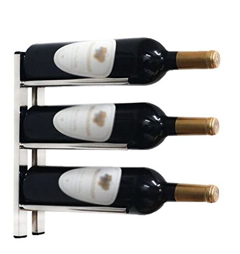 Black Wall-Mounted Wine Rack for Cork Out Storage (Chrome)