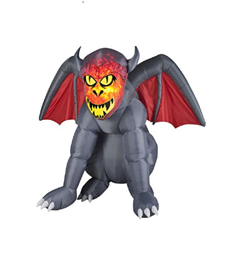 Gemmy Airblown Inflatable Gray Gruesome Gargoyle with Orange Fire and Ice Face - Indoor Outdoor Holiday Decoration, 4.5-foot Tall x 5.5-foot Wide x 4-foot Deep