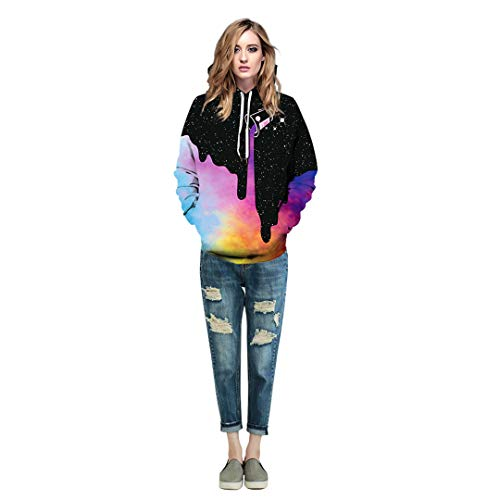 NEWCOSPLAY Unisex Athletic Hooded Sweatshirts 3D Digital Printed Hoodies Colorful Galaxy Pattern Big Pocket Sweaters 16 Fashion Online Shop gifts for her gifts for him womens full figure