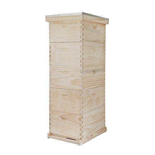Happybuy 5-Frame Bee Hive 4 Super and 1 Brood Box Beehive Frames Langstroth Beehive Box Kit (5 Frames)