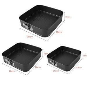 3PCS Non-Stick Baking Cake Mould Springform Square Cake Belt Buckle Tins Tray Pans Set 24/26/28cm Spring Loaded Warp Resistant 4128yem2Z2L