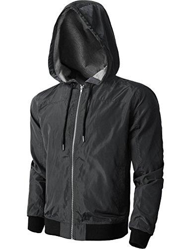 Hat and Beyond KS Mens Windbreaker Active Lightweight Jackets Casual Slim Fit Sweatshirts 1KSA0020 (Small, 20_charcoal)
