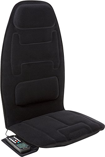 Relaxzen 10-Motor Massage Seat Cushion with Heat and Extra Foam, Black
