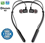 CROGIE B-11 Wireless Magnetic Bluetooth Behind Neck in-Ear High Bass Stereo Hands-Free Headset with Noise Cancellation Mic for Gyming, Jogging, Running for All iOS and Android Smartphones