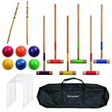 Sunnyglade 28inch Six Player Croquet Set for Adults and Kids with Classic Wooden Mallets, Colored Balls, Wickets, Stakes, Sturdy Carrying Bag