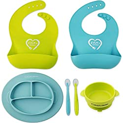 Baby Feeding Set - Silicone Bib Plates Bowls Spoons - Divided Plate Suction Bowl & Soft Spoon Aids Self Feeding - Adjustable Bib Easily Wipe Clean - Spend Less Time Cleaning Up After Toddler/Babies