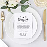 Wedding Thank You Place Setting Cards, 4x6 Print to add to your Table Centerpieces and Wedding Decorations - Pack of 50