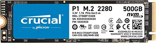CRUCIAL P1 500GB 3D NAND NVMe PCIe M.2 SSD (CT500P1SSD8) 195