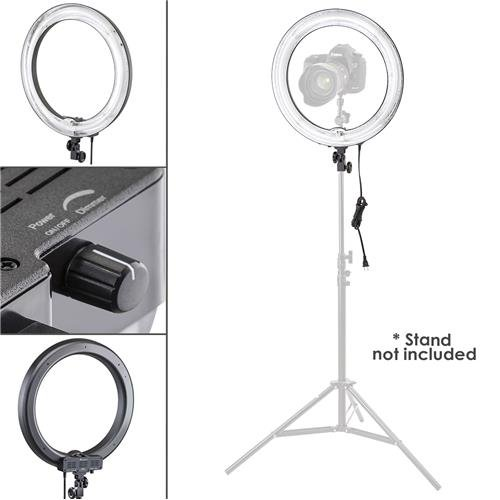 Flashpoint Photo/Video 13″ AC Powered 600W 5500K Fluorescent Ring Light with Bag