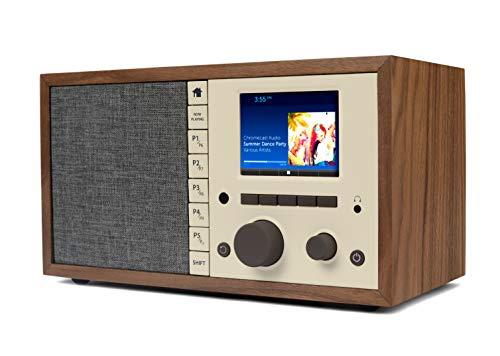 Grace Digital Mondo+ Classic Wireless Internet Radio with Wi-Fi, Bluetooth and Qi Built-in Wireless Smartphone Charger Walnut (GDI-WHA6005)