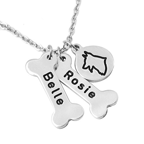 German Shepherd Dog Necklace,Personalized Dog names collor,Dog Bone & Dog  breeds Charm Necklace Your Lover Pet Gift