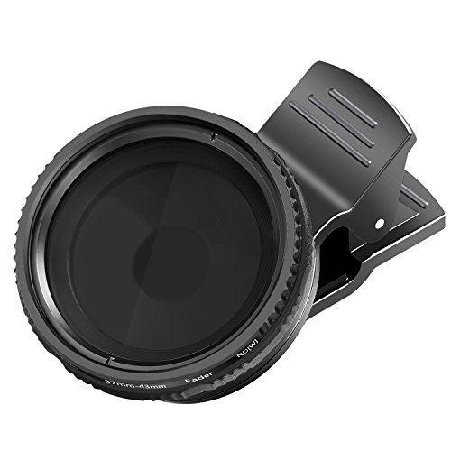 Neewer-37mm-Clip-on-ND-2-400-Cellphone-Camera-Lens-Filter-Kit-Adjustable-Neutral-Density-Filter-with-Phone-Clip-for-iPhone-X-8-plus-7-Plus-7-6-6S-Plus-Samsung-HTC-Motorola-iPad-and-Other-Smartphones
