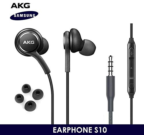 OEM-ElloGear-Earbuds-Stereo-Headphones-for-Samsung-Galaxy-S10-S10e-Plus-Cable-Designed-by-AKG-with-Microphone-and-Volume-Buttons-Black