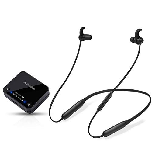 Avantree HT4186 Wireless Headphones Earbuds for TV Watching & PC with Bluetooth Transmitter Neckband Set, for Optical Digital Audio, RCA, 3.5mm Aux Ported TVs, Plug & Play, No Delay, Long Range