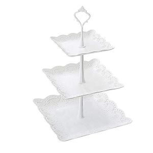 Qeeuanl Plastic Imitation Ceramics 3 Tier Cake Stand Party Food Server Display Set Dessert Stand Slate Serving Set for Sweet time for Wedding Home Holiday Birthday Christmas Party(Big) 412h9kCsEJL