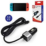 Car Charger for Nintendo Switch, High Speed 5V/2.1A USB Type-C Charging Cable Adapter for N-Switch