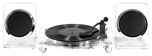 Victrola Modern Acrylic 2-Speed Bluetooth Turntable with 40-Watt Wireless Speakers, Clear