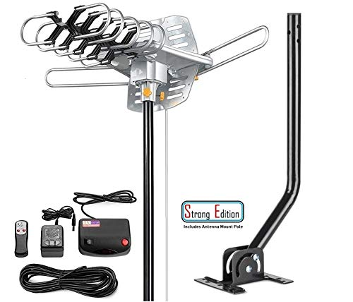 Vilso TV Antenna Outdoor Amplified - Motorized 360 Degree Rotation - Digital HDTV Antenna - 150 Miles Range - Wireless Infrared Remote with Mount Pole
