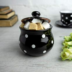 Black Polka Dot Sugar Bowl