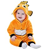 Tonwhar Baby Onesie Costume Animal Romper (90 Ages 12-18 Months, Fish)